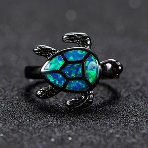 Jewelry - Blue Fire Opal & Black Turtle Ring NEW!